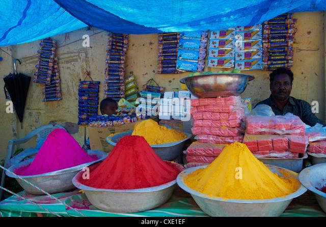Coloured powders for sale, Channapatna village, Mysore, Karnataka, India, Asia - Stock Image