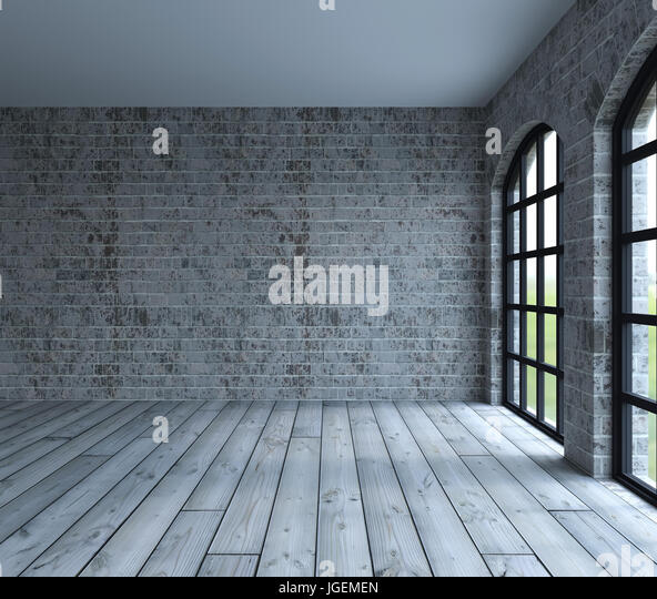 3d render of Blank wall in empty room with windows - Stock Image