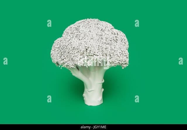 Broccoli painted white on green background - Stock Image