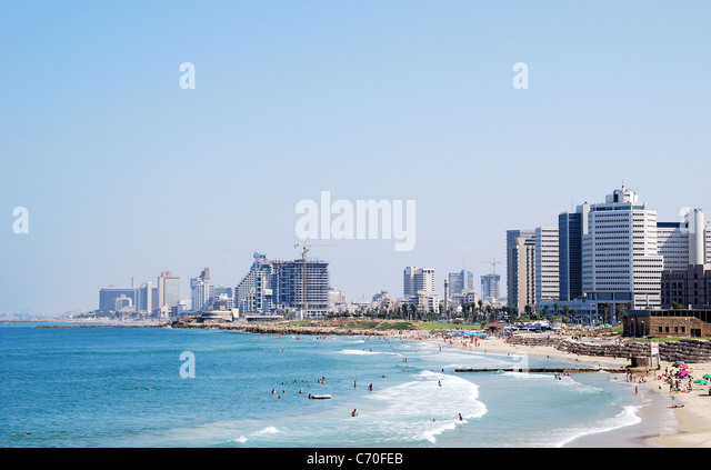 Coastline of the Mediterranean Sea, Tel Aviv, Israel. - Stock Image