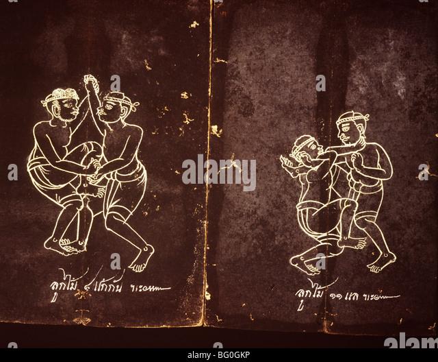 Manuscript on Thai Boxing, Thailand, Southeast Asia, Asia - Stock Image