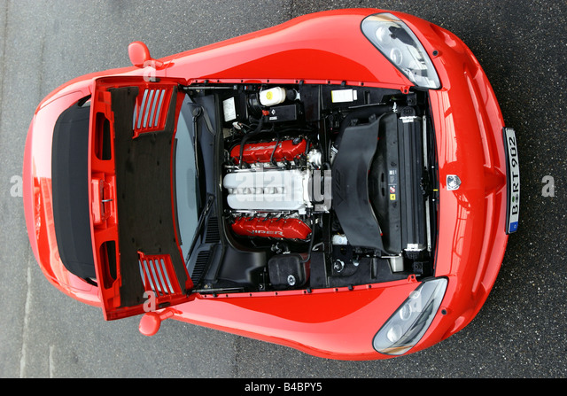 Car, Dodge Viper SRT-10, Convertible, model year 2003-, red, FGHDS, view in engine compartment, technique/accessory, - Stock Image
