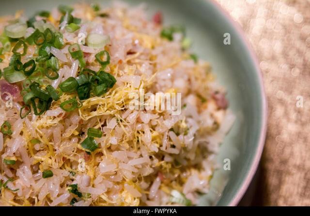 Cantonese fried rice served at Shang Palace Shangri-la Hotel Paris France - Stock Image