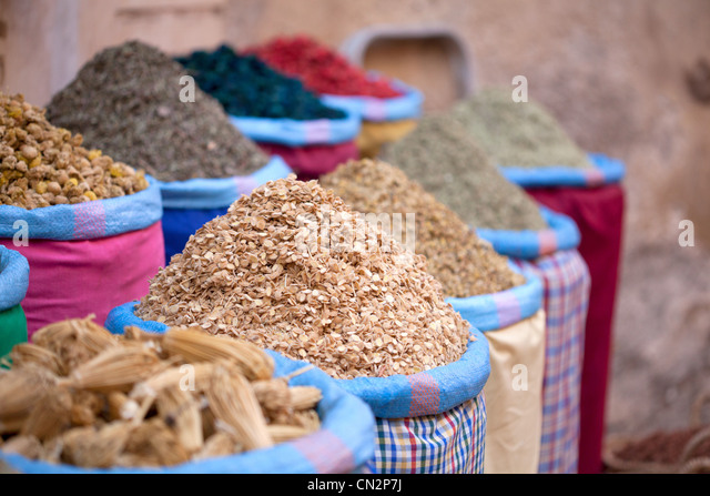 Dried food in sacks - Stock Image