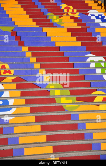 Colorful steps to the Museum of Contemporary Art, Chicago - Stock Image