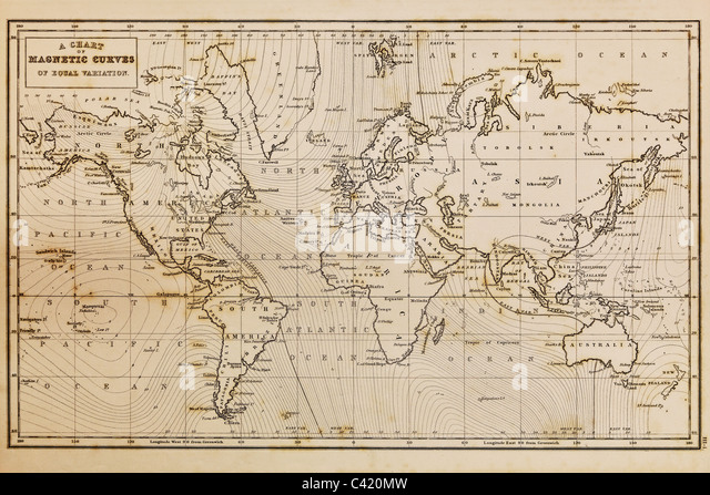 Photo of a genuine hand drawn world map, it was drawn in 1844 and therefore the countries are named as they were - Stock Image