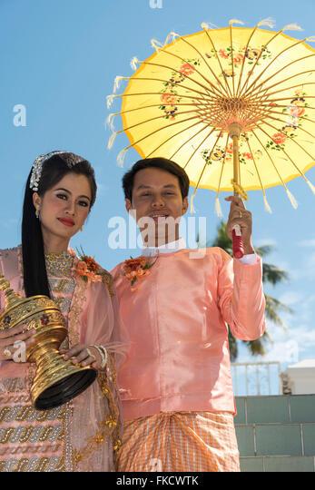Portrait of Burmese newlyweds, Myanmar - Stock Image
