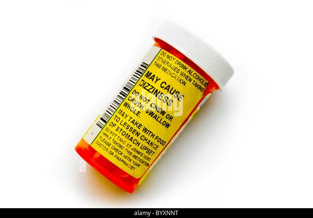 prescription drug bottle on white - Stock Image