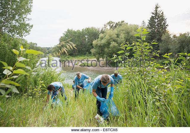 Volunteers picking up garbage in field - Stock Image