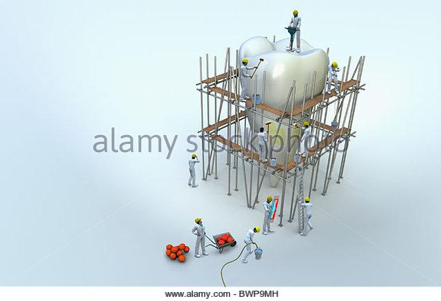 Workmen on scaffolding repairing large tooth - Stock-Bilder