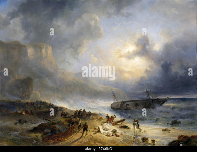 Shipwreck off a Rocky Coast - by Wijnand Nuijen, 1837 - Stock Image