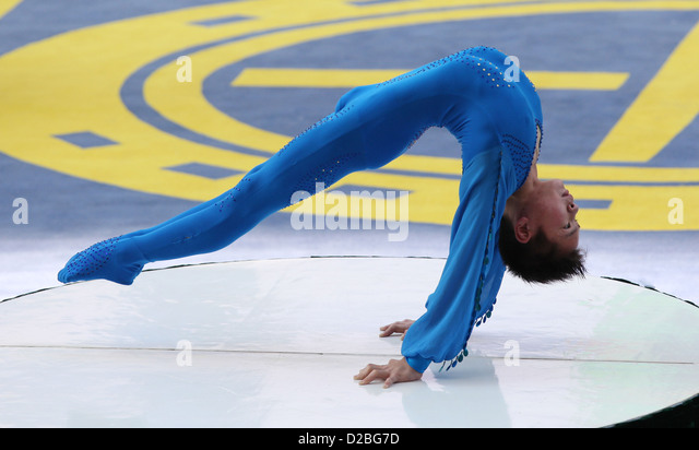 Hong Kong, China, the Turner Cai Young shows his acrobatics - Stock Image
