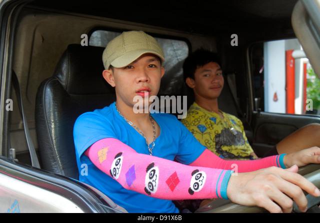 Thailand Bangkok Pathum Wan Soi Kasemsan 1 Rama 1 Road Asian man driver - Stock Image