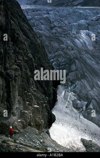 Descending to the Tré la Tête glacier, Mont Blanc massif, French Alps, France - Stock Image