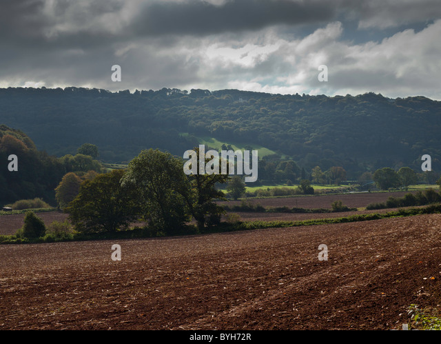 WYE VALLEY AND RED EARTH NR BIGSWEIR BRIDGE MONMOUTHSHIRE - Stock Image