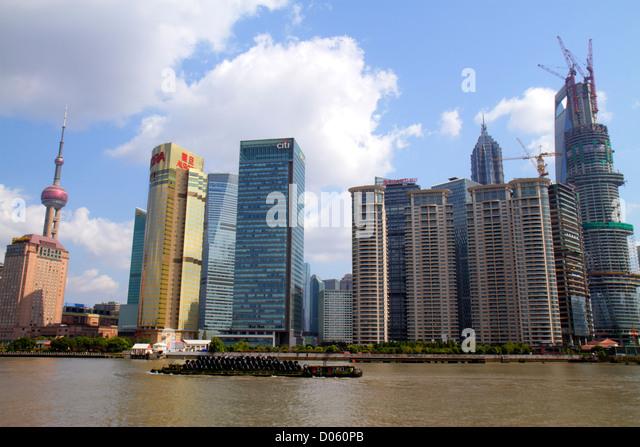 Shanghai China Huangpu River Pudong Xin Quinn Lujiazui Financial District Jinling East Road Dongchang Road Ferry - Stock Image