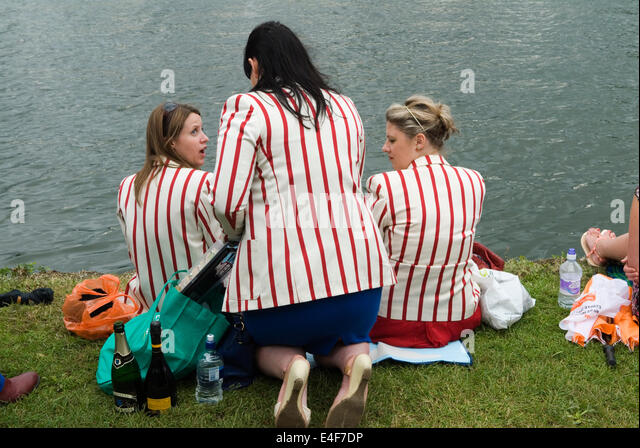 Women wearing rowing blazers Henley on Thames Royal Regatta UK HOMER SYKES - Stock Image