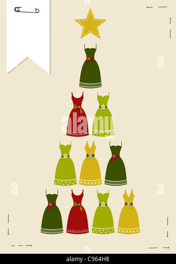 Christmas tree made of multicolored dresses with a yellow star on the top on pink background. Vector file available. - Stock Image