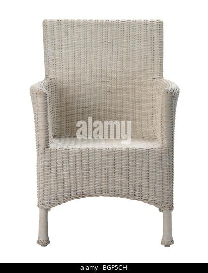 Cream rattan chair - Stock Image