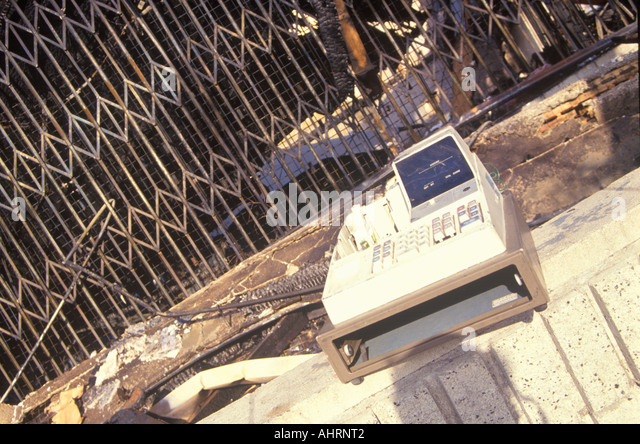 Salvaged cash register after 1992 riots South Central Los Angeles California - Stock Image