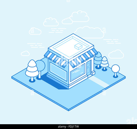 Shop building isometric illustration - online shop and store concept in trendy linear style for banners and websites - Stock-Bilder