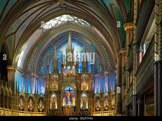 Notre-Dame Basilica Church Alter, Montreal, Canada - Stock Image