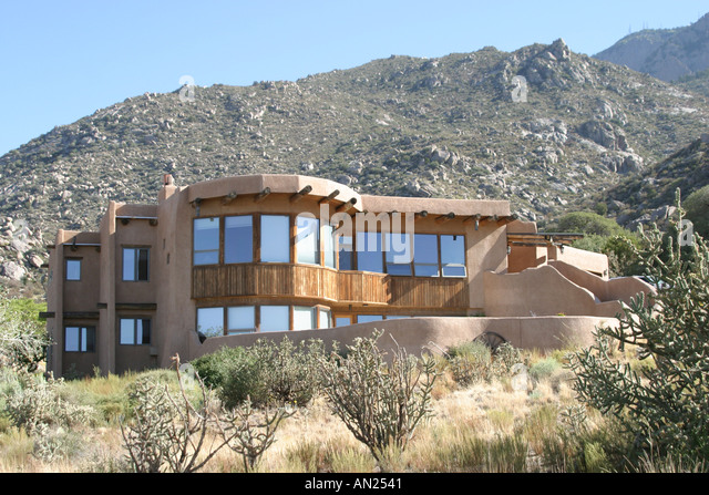Albuquerque New Mexico Sandia Heights adobe style home T - Stock Image