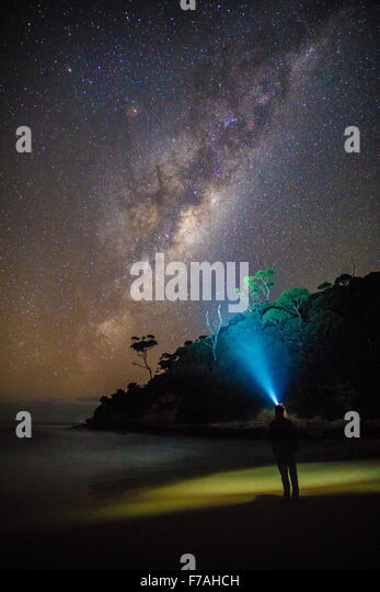 Meroo beach milky way - Stock Image