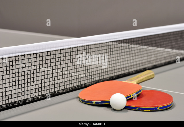 Equipment for table tennis - racket, ball, table closeup - Stock Image