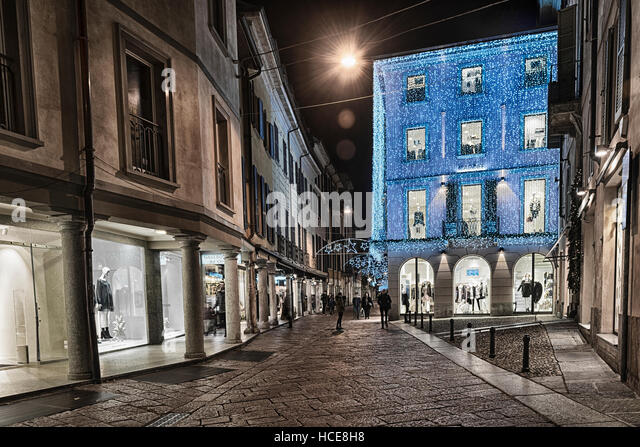 Christmas lights in the pedestrian area of Varese - Stock Image