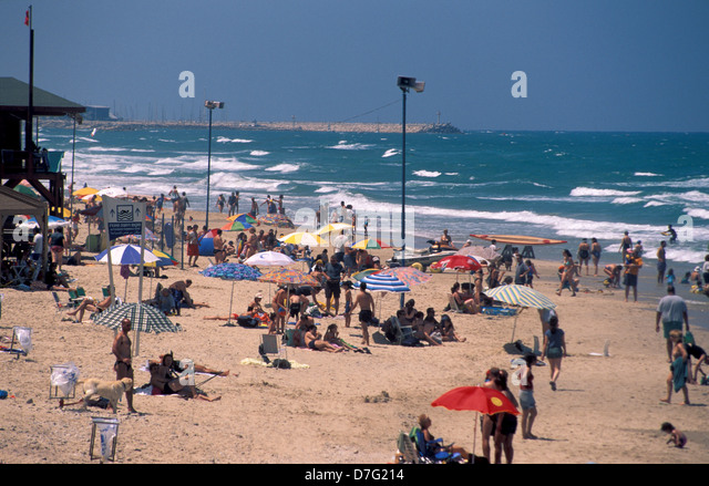 the beach of sidney ali in herzliya - Stock Image