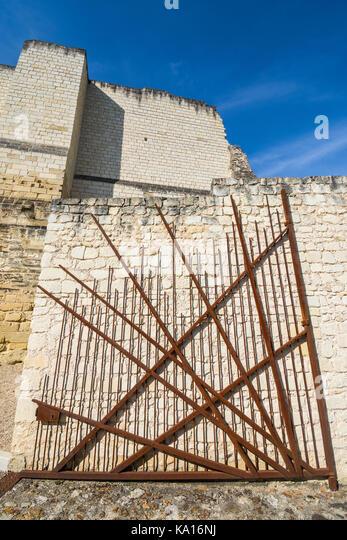 Modern metal gate, Chateau Chinon, France. - Stock Image