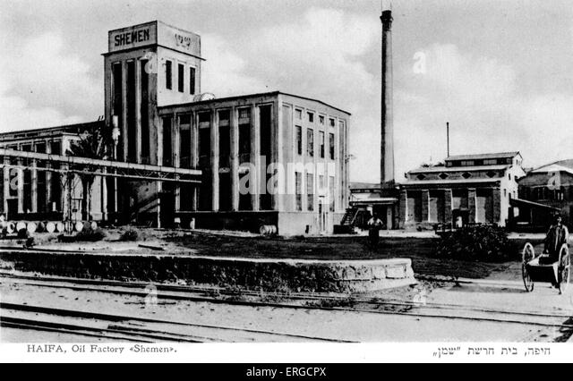 Haifa, Oil factory 'Shemen'.  Early twentieth century photograph - Stock Image