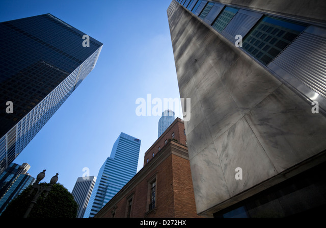 Skyscrapers in downtown Los Angeles City, Business District, California, USA.. - Stock-Bilder