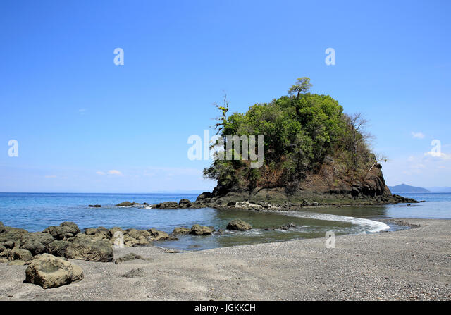 Stone Beach in Coiba National Park, Panama - Stock Image