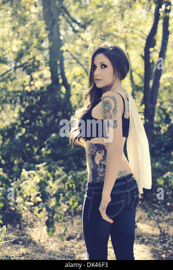 woman with tattoo - Stock-Bilder