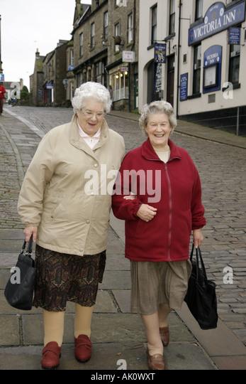 UK, England, Alston, senior women, neighbors, - Stock Image