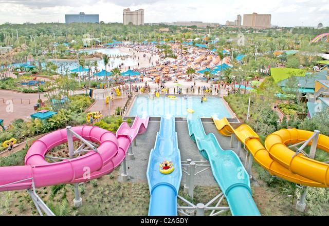 People at Aquatica water park Orlando Florida - Stock Image