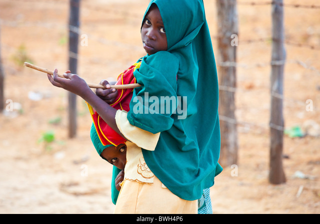 Bashful girl on Lamu Island, Kenya - Stock Image
