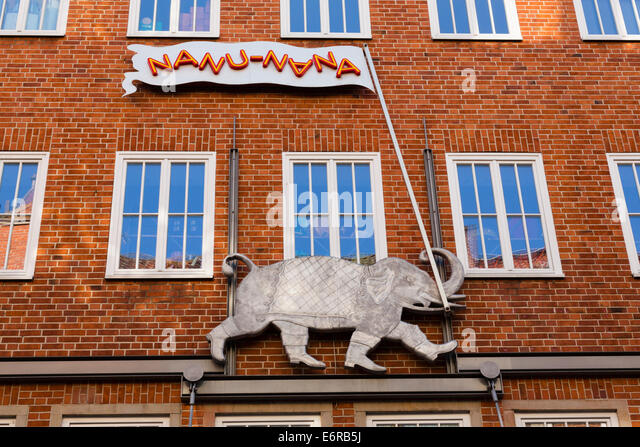 Elephant with flag detail from 'Nanu-Nana' childrens shop, Bremen, Germany. - Stock Image
