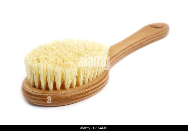 Natural bath brush isolated on white background - Stock Image