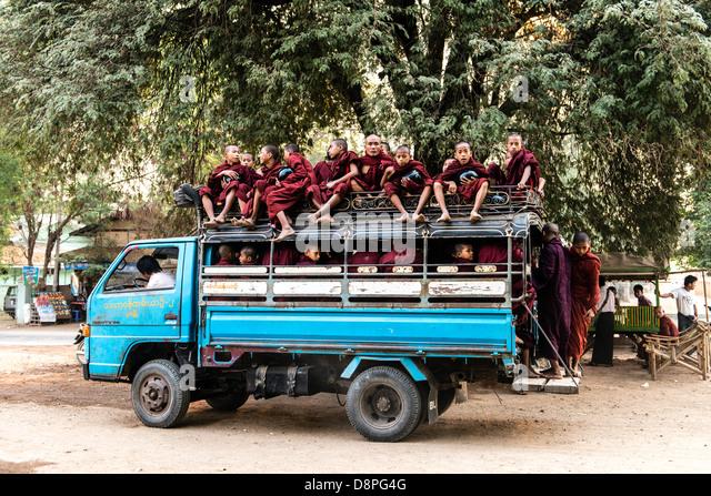 Buddhist monks bus near Bagan Burma Myanmar - Stock-Bilder