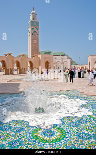 Morocco's Hassan II Mosque in Casablanca is world's 5th largest with world's tallest minaret - Stock Image