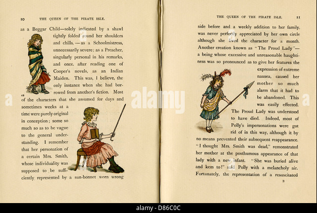 Three Illustrations  The Queen Of The Pirate Isle - Stock-Bilder