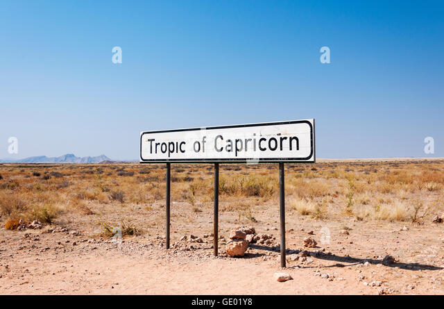 Sign of the Tropic of Capricorn in Namibia, Africa - Stock-Bilder
