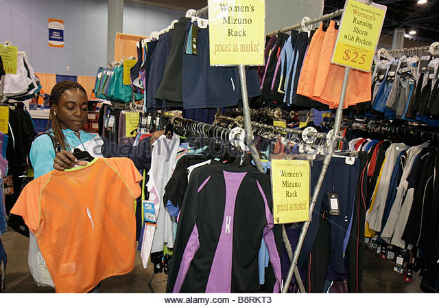 Miami Beach Miami Florida Beach Convention Center Centre Total Health and Fitness Expo exhibitor sports clothes - Stock Image