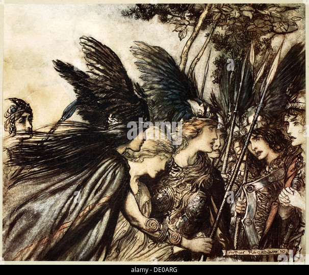 'I flee for the first time and am pursued', 1910.  Artist: Arthur Rackham - Stock Image