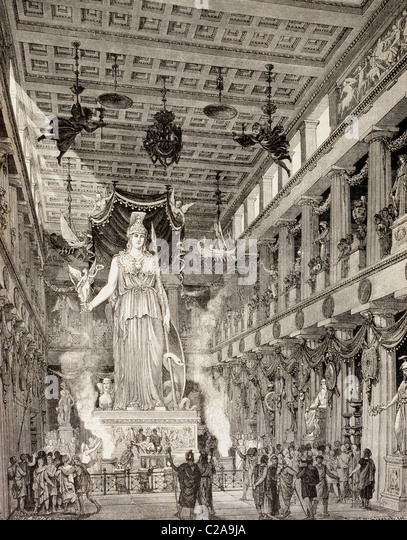 Artist's impression of the Parthenon, Athens, Greece, during the Classical period. Statue of the Goddess Athena, - Stock Image