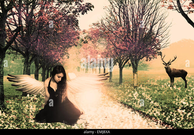 fantasy, forest, trees, fairytale, fairy, angel, angelic, model, female, girl, deer, nature, fiction, fictional, - Stock Image
