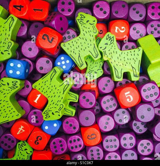 Colorful wood toys - Stock-Bilder
